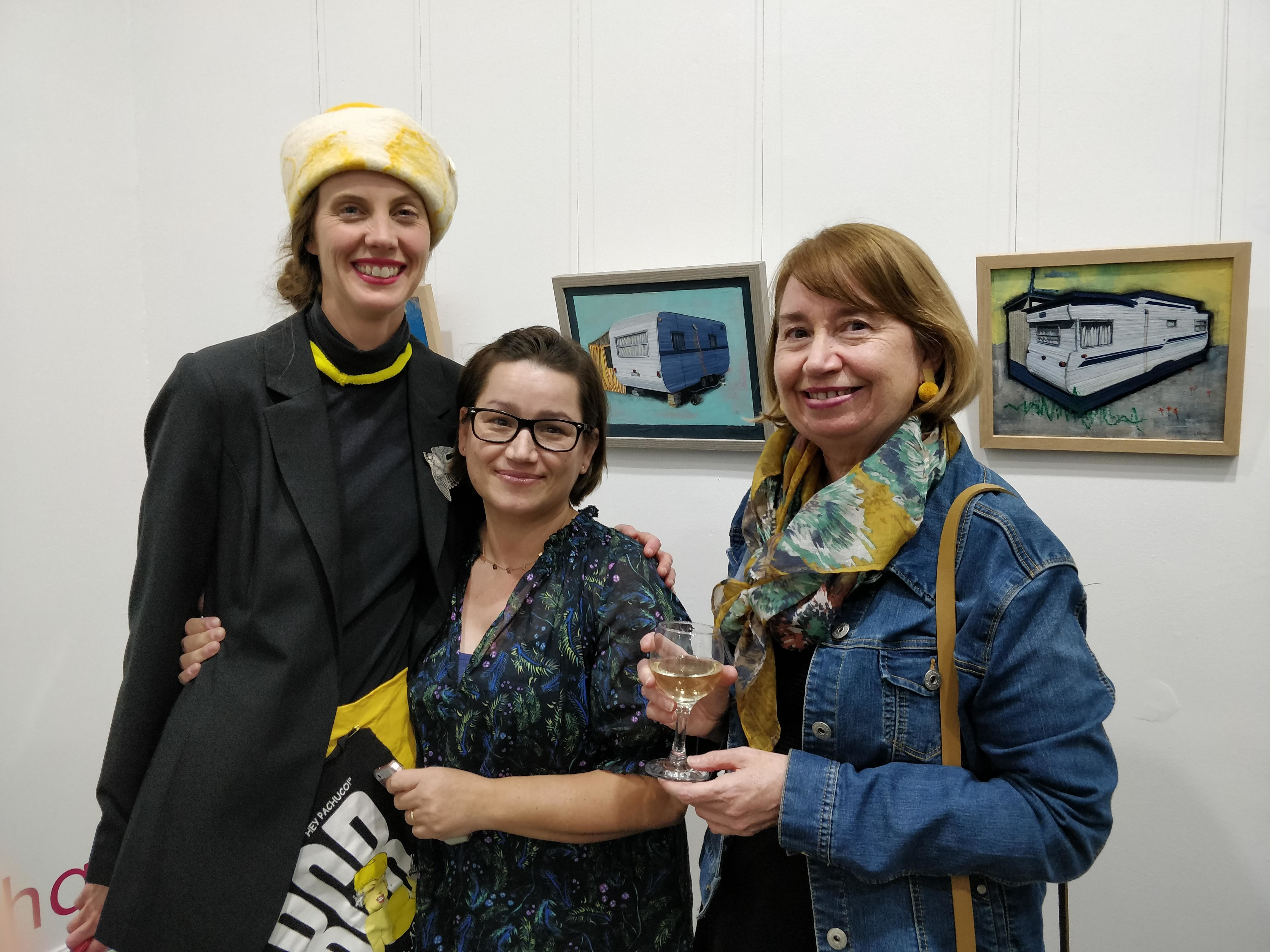 BAF Art Fair Opening Artists Kerrie Matchett Josie Birchall and Cathy Corderoy looking at Josies Micro Exhibition A Home Is What You Make It